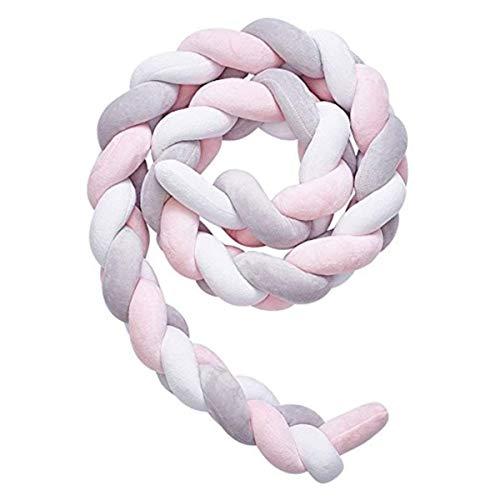 Nordic Style intrecciato intrecciato Annodato paracolpi per lettino neonato regalo nuovo bambino presepe lunga mano tessuto cuscino (Pink/White/Gray)