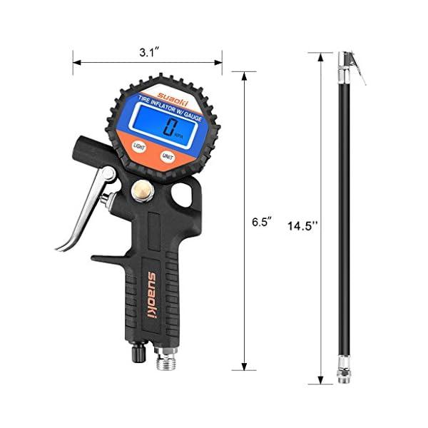 Suaoki – 150 PSI Manómetro Digital, Medidor de Presión de Neumáticos con Manguera y Acoplador para Motocicleta, Bcicleta…