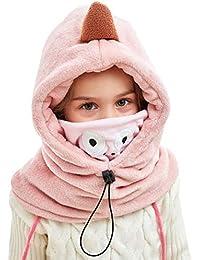 DAWNTUNG Cagoule Enfant Polaire Epais Chaud Hiver Bonnet Echarpe Cache Cou  Oreilles Cagoule de Ski Animal 29f01e7c0da