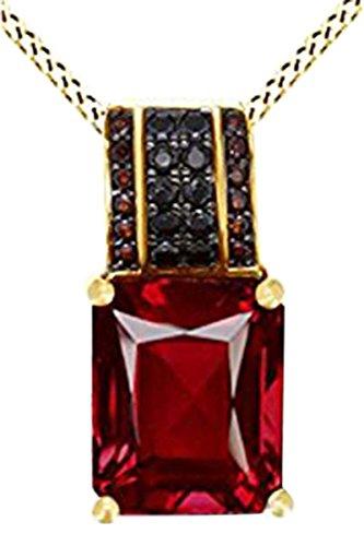 AFFY Simulierte Rubin, Schwarz, Spinal und mit rotem Granat CZ-Halskette in Gold (5,3cttw), Messing