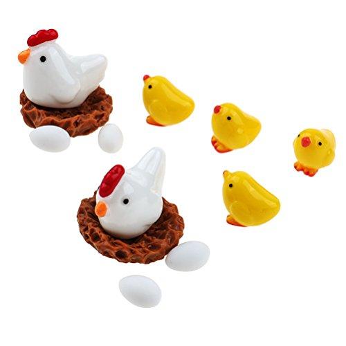 (LUKUPONE 12 Stück Feengarten Hühner Miniatur Harz Hühner Familie Eier DIY Home Craft Decor Micro Landscape Bonsai-Zubehör)