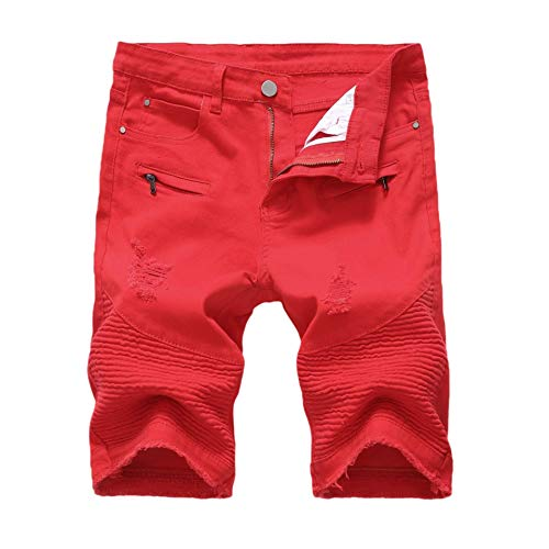 CuteRose Men Raw Hem Jeans Twill Big Tall Stretch Summer Bermuda Shorts 5 35 -