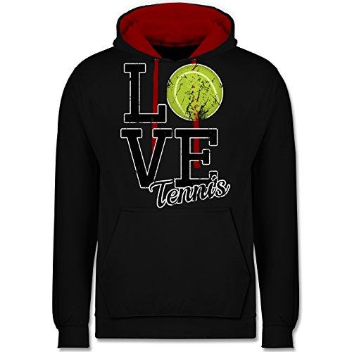 Tennis - Love Tennis - Kontrast Hoodie Schwarz/Rot
