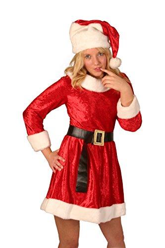 Miss Santa Weihnachten Kostüm 3 Stück, Hut & Gürtel in roten Samt (Samt Miss Santa Kostüm Für Erwachsene)