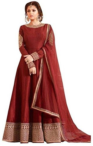 Rudra Fashion Women\'s Red Georgette Heavy Embroidered Semi-Stitched Salwar Suit Dress Material