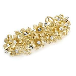 Avalaya Diamantbesetzte Haarspange mit Gänseblümchen-Design, leuchtender Goldton,80mm Länge