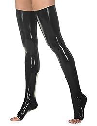 EXLATEX Mujer Latex Rubber Thigh High Long Footlights Medias Fetiche