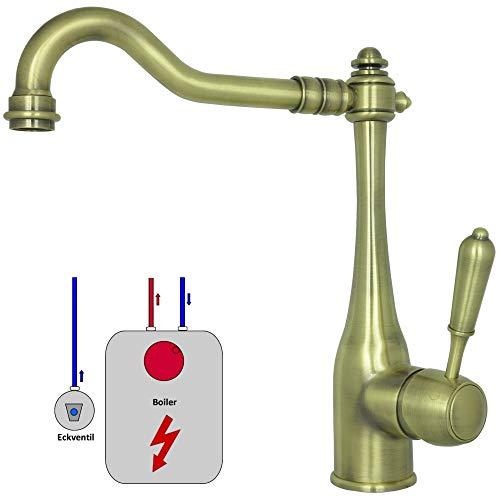 Niederdruck Armatur Mischbatterie Spüle Mischbatterie Küchenarmatur Spültischarmatur Wasserhahn Armatur Brause Einhebelmischer Einhandmischer Bronze
