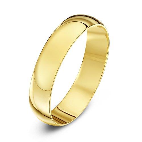 Theia Unisex Ehering 9 Karat Gelbgold, Massive D-Form, poliert, 4mm - Größe 47 (15.0)