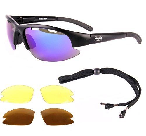 Rapid Eyewear Nimbus FT Lunettes de soleil de sport avec verres interchangeables bleus miroir anti-buée/polarisés et faible lumière/protection UV400 Noir