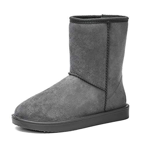 DKSUKO Damen Wasserdicht Schlupfstiefel Halbstiefel Warm Gummistiefel Winter Warm Gefüttert Klassisch Stiefel Boots 36-42EU