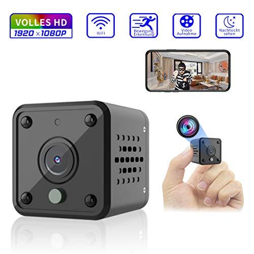 Mini Telecamera Spia Nascosta Wifi, Full HD 1080P Portatile Piccola videocamera Con rilevazione di movimento Allarme e visione notturna a infrarossi Esterno e Interno Piccola IP Sorveglianza