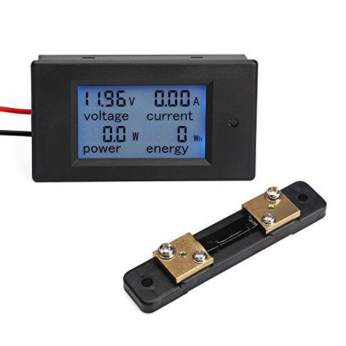 Droking Digital-Multimeter DC 6.5-100V 50A Spannung Stromstärke Energiezähler DC Volt Ampere Test Gauge Monitor LCD Blau Hintergrundbeleuchtung Digitalanzeige mit 50A/75mV Externer Shunt (1/0 Gauge Amp)