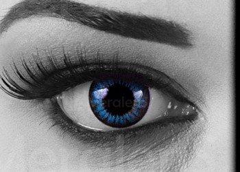 Funnylens 1 Paar farbige Crazy Fun cool blue 15 mm 3 Monats Kontaktlinsen. perfekt zu Halloween, Karneval, Fasching oder Fastnacht mit gratis Kontaktlinsenbehälter ohne Stärke! (Coole Kontaktlinsen)
