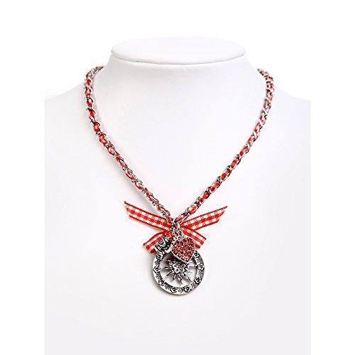 ALMBOCK Trachtenhalskette Damen rot | bayerischer Dirndl Schmuck rot | Oktoberfest Accessoires zum Dirndl