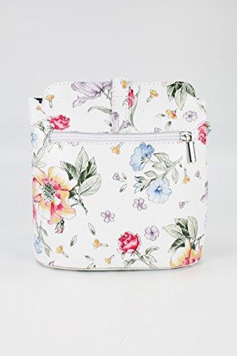 BELLI ital. Ledertasche Damen Umhängetasche Handtasche Schultertasche - 18x20x8 cm (B x H x T) weiß blume