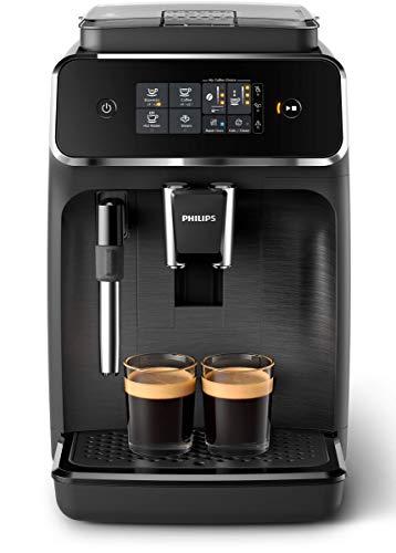 Philips Serie 2200 EP2220/10 - Cafetera super automática con espumador de leche clásico, muy fácil de limpiar, molinillos 100% cerámicos, pantalla táctil