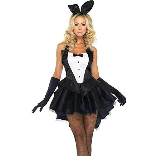 Cossll498 3 Stücke Frauen Bunny Smoking Kleid Handschuhe Stirnband Halloween Cosplay Kostüm Set Schwarz XL