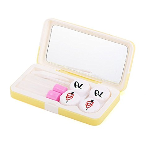 Travel Kontakt Lens Case Kit Halterung Heart Print mit 2 Twist Gap Objektiv-Set gelb -