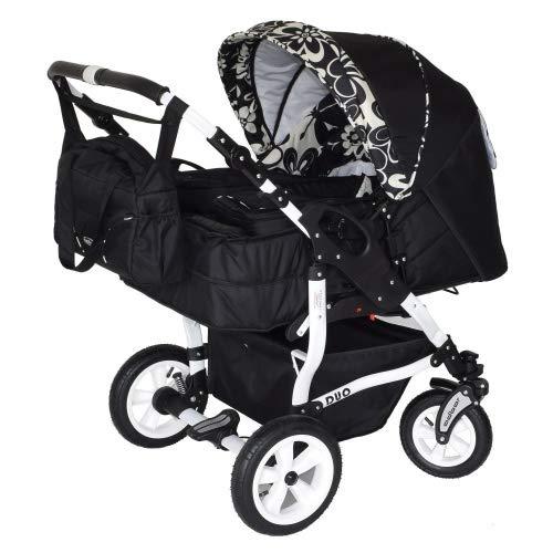 Adbor Duo 3in1 Zwillingskinderwagen mit Babyschalen - weißes Gestell, Zwillingswagen, Zwillingsbuggy Farbe Nr. 26w schwarz/flower