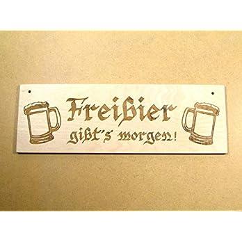 """Lustiges Holzschild """"Freibier gibt's morgen"""" Holz Bier Schild Fun Kneipe Party"""