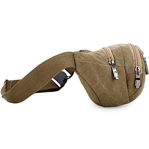 Pocket Travel Escursioni All'aperto Sport Hip Pack,Brown Khaki