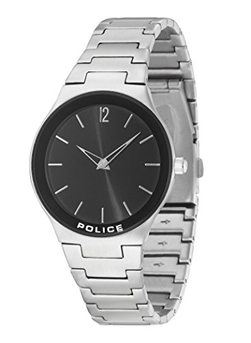 Police unisex Quartz Watch with Black Dial Analogue Display and Silver Stainless Steel Bracelet 14565MS/02M