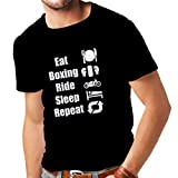 Camisetas hombre Eat Boxing Ride Sleep Repeat - for fighters and riders motivational sports quotes (Small Negro Fluorescente)