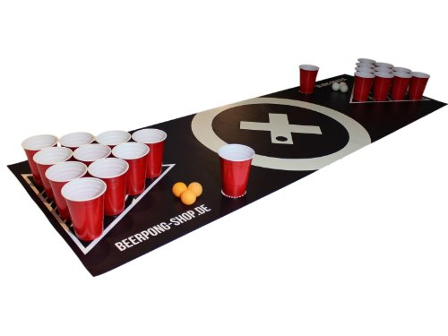 "Beer Pong Tisch Matten Set ""Audio Table Design"" inkl. 50 Red Cups, 6 Beer Pong Bälle und Regelwerk"