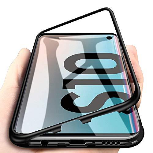 WindCase Galaxy S10 Hülle, Metall Aluminium Bumper mit Magnetplatte +Transparent Gehärtetes Glas Rückschale 360 Grad Schutzhülle für Samsung Galaxy S10 Schwarz