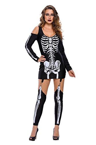 r-dessous Damen Skelett Kostüm Kleid Knochen Gebeine Tod Horror Halloween Karneval Fasching Verkleidung Groesse: XL (Damen Skelett Kostüm Kostüme)