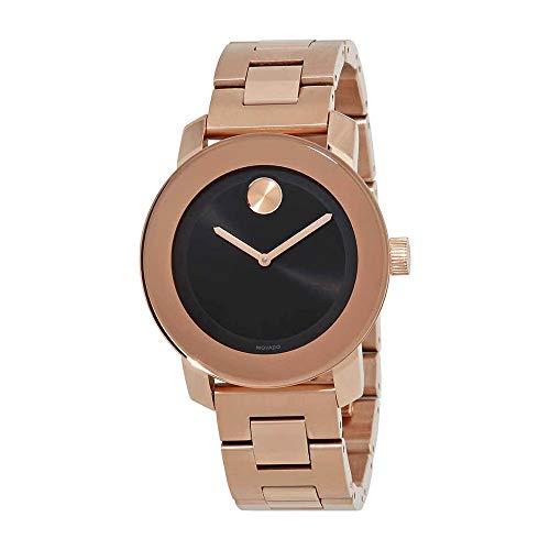 Movado Women's Sunray Steel Bracelet & Case Quartz Black Dial Watch 3600463