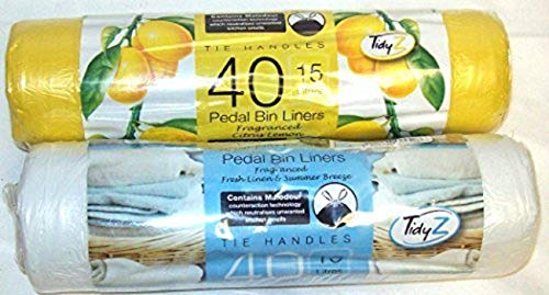 80 Scented Pedal Bin Liners With Tie Handles 15 Litre 40 Fresh...