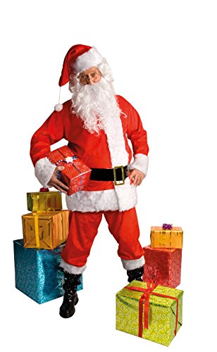 ann deluxe komplett Kostüm - Mütze, Jacke, Hose, Gürtel, Bart/Perücke + Stiefelstulpen (Komplette Santa Anzug Für Erwachsene Kostüme)