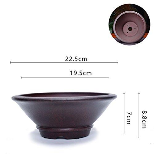 Pot de fleurs BOBE Shop Style Chinois Violet Sable Respirant en céramique hydroponie/Sol Plantes de Culture de Pot d'intérieur en Plein air (Taille : #2-with Holes)