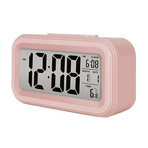 Jueven Bunte Wecker Große LED-Display Digital Wecker Snooze Aktiviert Nachtlicht Funktionen (Farbe : Pink)