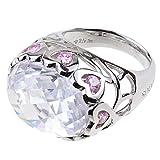 Pompöös Harald Glöckler Ring für Frauen Silber 925 rhodiniert Zirkonia weiß rosa Geschenk Gr. 54