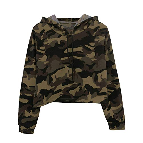feiXIANG Damen Langarm Sweatshirt Outwear Camouflage Patchwork Sport Freizeit Bluse(M,Grün)