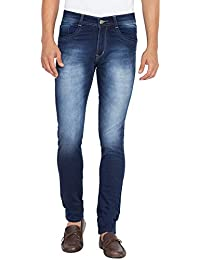 Flying Port Men's Cotton Lycra Blue Mid Rise Slim Fit Jeans