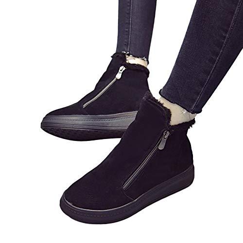 Bottes de Neige Femme, Manadlian Chaud Chaussures Bottes et Bottines Faux Daim Doublé de Fourrure Décontractée Confort Fermeture éclair Boots