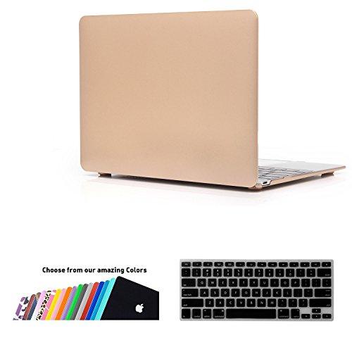 MacBook 12 Retina Custodia Case - iNeseon 2 in 1 Plastica Cover Rigida Duro Caso, US Versione Oro Tastiera Copertina e EU Versione Trasparente Tastiera Copertina per Apple MacBook 12 pollici con Retina Display [Modello: A1534](Oro)