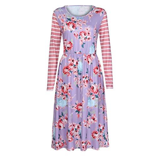 MIRRAY Damen Frühlings Kldider Sommer Herbst Lange Ärmel A-Linie Lose Florale Druckstreifen Casual Dress Party Kleid