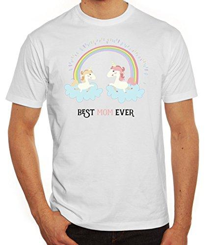 Einhorn Muttertag Herren T-Shirt mit Unicorn Best Mom Ever Motiv von ShirtStreet Weiß