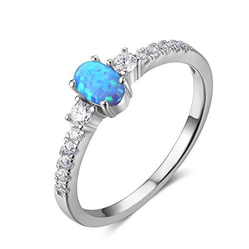 Aienid anelli argento donna 925 etnici blu opale ovale anello size:15