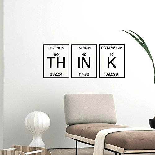 Art Wand Vinyl Aufkleber-Think Wort Schriftzug-33x 81,3cm Inspirierende Wand Art Decor-Scientfic Educational Sticker Decals Periodensystem der Elemente Wohnzimmer Schlafzimmer Wanddekoration