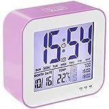 Reloj despertador digital de gran pantalla LCD, 3 alarmas, Retro-iluminación inteligente, con fecha, indicador de temperatura, calendario y luz de noche, Se carga por USB- Rosa
