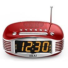 Akai AR400RD - Radiodespertador de 3W (AM, FM), rojo