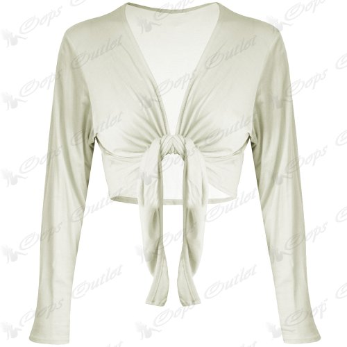 Trendy-Clothings Boléro à manches longues en Jersey Cardigan court pour boléro nouettes - White - Tie Up Viscose Stretchy Party Summer New