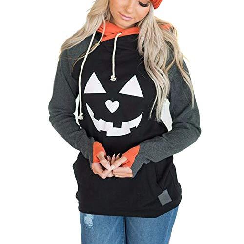WUSIKY Kapuzenpullover Damen Hoodie Langarmshirt Halloween Kostüm Sweatshirt Casual Pulli Plus Size Hexe Print Bluse Tops Hemd Dünn Jacke Kapuzenjacke Damen Pullover Sweatjacke (Schwarz, - Plus Hexe Kostüm