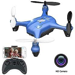 ATOYX AT-96 Drone avec Caméra HD FPV Drone Enfant WiFi Hélicoptère Télécommande avec Mode sans Tête, Maintien d'Altitude, 360°Flips, Mini Cadeau et Jouet pour Enfant ou Débutant - Bleu